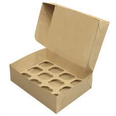 Коробка для 12 капкейков 33*25*10 (см) бурая