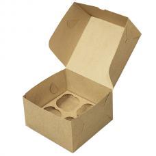 Коробка для 4 капкейков из бурого картона 16*16*10 (см)