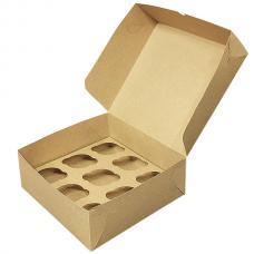 Коробка для 9 капкейков 27*26*10 (см) бурая