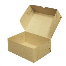 Коробка для пирожных, выпечки и др. продуктов,без вкладыша 15*11*6 (см.) бурая