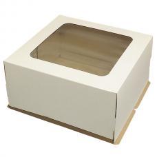 Коробка для торта,белая с прозрачным окном 40*40*20 (см)