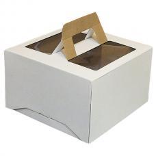 Коробка для торта, из белого гофрокартона, с вырубными ручками, прозрачным окном 30*30*18 (см)