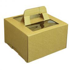 Коробка для торта, из бурого гофрокартона, с вырубными ручками, прозрачным окном 30*30*18 (см)