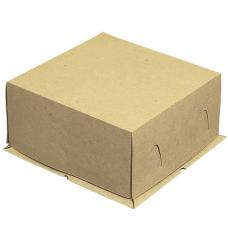 Коробка для торта, из бурого картона, без окошка 21*21*10 (см)