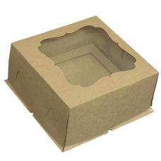 Коробка для торта, из бурого картона, с прозрачным окном 21*21*10 (см)
