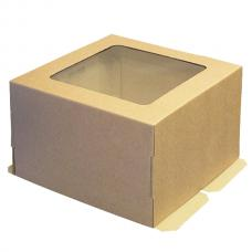 Коробка для торта, из бурого микрогофрокартона с окошком 30*30*19 (см)