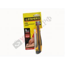 Нож STAYER MASTER с выдвижным сегмент. лезвием, пластмас., упроч., 9мм, 0903
