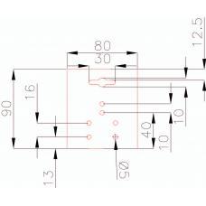 Европодвес 80х90 мм, 6 отверстий